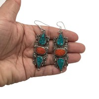 Vintage Nepalese Tribal Red Coral & Green Turquoise Inlay Boho Earring, NPE18