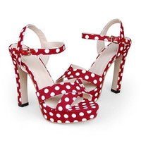 Red Bandage With Polk Dots High Heel Slingback - Sandals - Lady Shoes - Clothing and Apparel