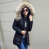 Women Winter Fashion Plus Size Long Sleeve Padded Down Coat with Hat [9378741828]
