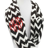 Monogrammed Jersey Knit Black and White Chevron Print Infinity Scarf