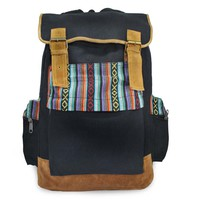 Mato Boho Backpack Travel Rucksack Bohemian Woven Aztec Pattern Black Suede