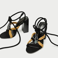 LEATHER SANDALS WITH STONE DETAIL