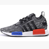"""Women """"Adidas"""" NMD Boost Casual Sports Shoes Grey red blue soles"""
