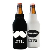 MagiDeal 2pcs Beer Bottle Cooler Sleeve Wrap Zip Holder Lover Wedding Favor Mr. Mrs.-Great Couple Gift