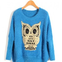 Blue Fluffy Sweater with Sequin Owl Detail
