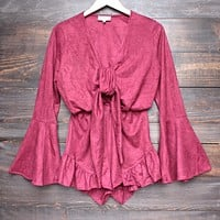 Lioness - Suede With It Ruffle Hem Romper in Burgundy