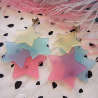 Rainbow Pastel Dangling Stars Earrings by imyourpresent on Etsy
