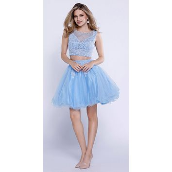 Periwinkle Lace Applique Bodice Two-Piece Homecoming Short Dress