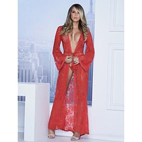 Long Lace Robe G-String Set