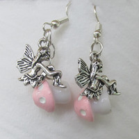 Pink Fairy Home Earrings, Mushroom Earrings, Mushroom Beads, Fantasy Jewelry, Pink N White Shroom, Pixie, Dainty Jewelry, Fairy Girl Gift