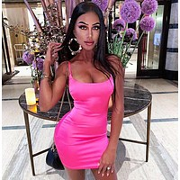 Summer Fashionable Women Sexy Backless Show Body Party Slip Dress Rose Red