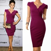 Purple Office Lady Cap Sleeve V Neck Womens Formal Career Pencil Dresses Zipper