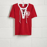 University of Oklahoma Short Sleeve Perfect Lace-Up Tee - PINK - Victoria's Secret