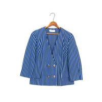 The BERNIE BLAZER 60s Cropped Blue Striped Boxy Jacket Double Breasted Gold Buttons Mod Cropped Shirt Retro Small Louannes Vintage