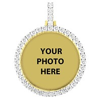 Gold Tone One Row Solitaire Tennis Picture Photo Pendant