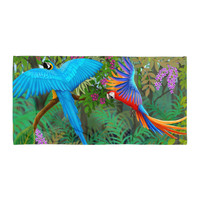 Tropical Parrot Jungle Beach Blanket