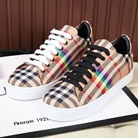 BURBERRY Fashionable Women Men Casual Plaid Sport Shoes Sneakers
