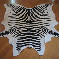 Zebra Cow Hide Rug Black and White Nature Natural