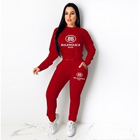 balenciaga Casual Print Hoodie Top Sweater Pants Trousers Set Two-piece High quality Sportswear red