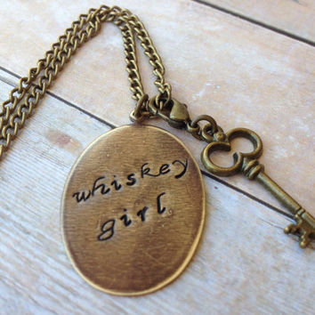 Whiskey Girl Necklace, Detachable Key Charm Hand Stamped Vintaj