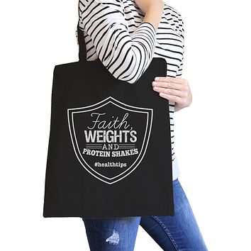 Faith Weights Canvas Shoulder Bag For Workout Funny Saying Gifts