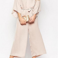 V-Neck Wide Leg Jumpsuits Horn Sleeve Strappy Jumpsuits