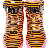 "The Jeffrey Campbell Popp ""LOVE / HATE"" Sneaker in Orange, Black and Fuchsia"