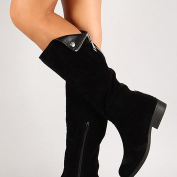 Suede Round Toe Folded Knee High Boot