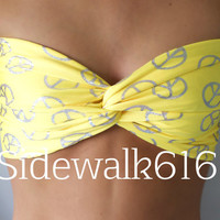 Yellow and Silver Peace Sign Print Bandeau Top Spandex Bandeau BIkini