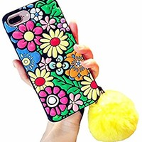 UnnFiko Colorful Flowers iPhone X Plus Phone Case, Rubber Silicone Skin Cover with Fluffy Ball, Soft Protective Case for Girls Women (Flower, iPhone X)