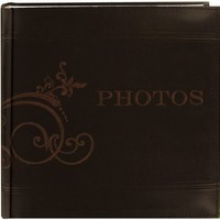 """Pioneer Embroidered Scroll and """"Photos"""" Sewn Leatherette Cover Photo Album, Brown"""