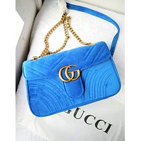 GUCCI tide brand female velvet wavy shoulder crossbody bag messenger chain bag Blue