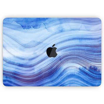 """Vivid Agate Vein Slice Blue V5 - Skin Decal Wrap Kit Compatible with the Apple MacBook Pro, Pro with Touch Bar or Air (11"""", 12"""", 13"""", 15"""" & 16"""" - All Versions Available)"""