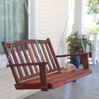4-ft. Curved Back Porch Swing Bench Chair with Comfort Springs & Hanging Hooks