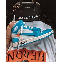 NIKE OFF-WHITE x Jordan 1 Powder Blue OW AJ1 North Carolina basketball shoes