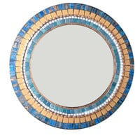 Navy Blue and Copper Round Mosaic Wall Mirror