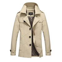 2017 New Arrival Trench Coat  Autumn Men's Cotton Trench Solid Jacket  Winter Long Sleeve Coat Casual Slim Fit Parka QMY075