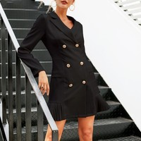 Office lady solid women's blazer dress Elegant ruffle casual dress double-breaste slim suit dress