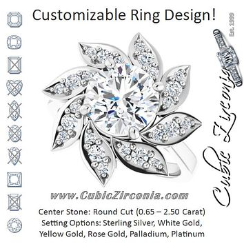 Cubic Zirconia Engagement Ring- The Xiùying (Customizable Round Cut Design with Artisan Floral Halo)