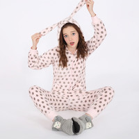 Winter Warm Sleepwear Lovely Flannel Hooded Pajamas Jumpsuit with Front and Back Zipper [9575856271]