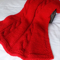 Cable Knit Christmas Baby Blanket, Chunky Hand Knit Toddler Afghan, Ready To Ship, Scarlet Red Lap Throw, Heirloom Bedding, Boy or Girl Gift