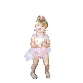 Baby Girl Floral Tutu Romper with Sequins Pink and Gold