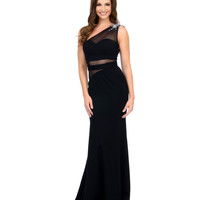 Unique Prom Exclusive Black Jeweled One Shoulder Mesh Cutout Gown 2015 Prom Dresses