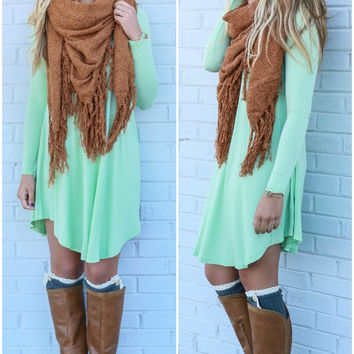 Follow Your Heart Sage V-Neck Long Sleeve Dress