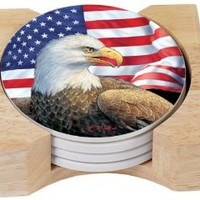 CounterArt Eagle and Flag Design Absorbent Coasters in Wooden Holder, Set of 4