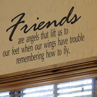 Friends Are Angels that Lift Us Our Feet Friendship Large Wall Decal Decor Saying Lettering Vinyl Quote Sticker Art Letters Decoration FR3