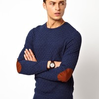 ASOS Cable Sweater with Elbow Patches - Denim