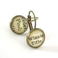 Winnie the Pooh AA Milne Recycled Library Card Word Earrings Patina Brass