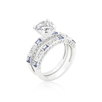 Hurley Tanzanite Purple Engagement and Wedding Ring Set | 4ct | Cubic Zirconia | Silver