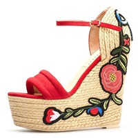 Women's Floral Embroidered Platform Wedge Sandals